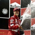 30 May 1999:  Ferrari's Michael Schumacher celebrates third place in the Formula One Spanish Grand Prix at the Circuit de Catalunya in Barcelona, Spain. Mandatory Credit: Michael Cooper /Allsport
